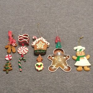 Set of 5 Gingerbread Christmas Ornaments w/candy